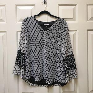 Calvin Klein 3/4 bell sleeve blouse